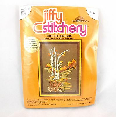 Vintage Jiffy Autumn Woods #859 Stamped Crewel Embroidery Kit Fall Trees