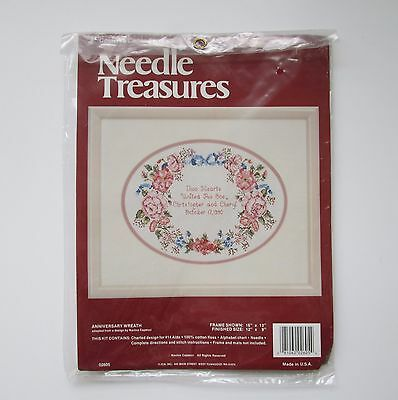 Needle Treasures Anniversary Wreath Counted Cross Stitch Kit Wedding Gift New