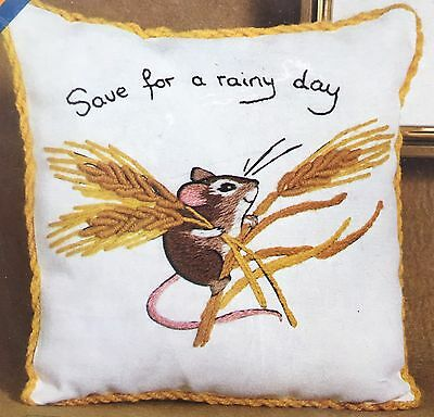 Erica Wilson Save For A Rainy Day Mouse Crewel Embroidery Kit 7439 Vintage1974