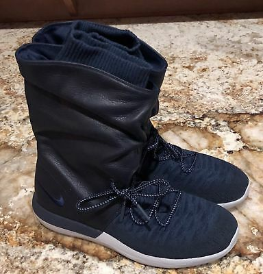 huge discount e65ff 91d99 NIKE ROSHE TWO Hi Flyknit Navy Blue Sneakerboot Lifestyle Shoes NEW Womens  9.5