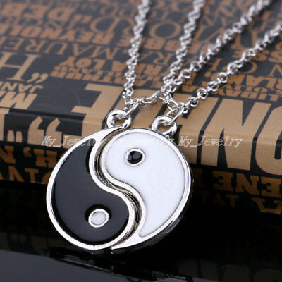 2 Part BEST FRIEND Yin Yang Pendant Black White Necklace Charm Friendship Gifts