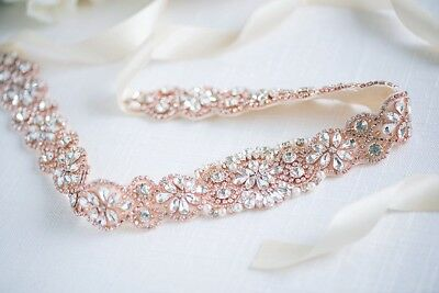 Rose Gold/Silver Crystal Bridal Sash Wedding Dress Sash Belt Crystal Waist Belt