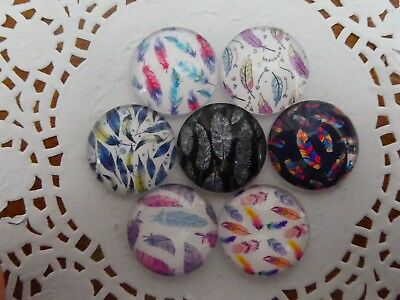 Set Of 7 X 25mm Glass Dome Cabochons - Assorted Feathers Designs
