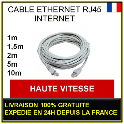 Cable RJ45 RÉSEAU ETHERNET INTERNET ORDINATEUR CONSOLE CAT 5E 1 2 5 10m