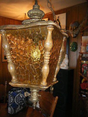 Vintage Gothic Spanish SWAG LAMP / Light Wood w 4 Sided Gold Panels repair