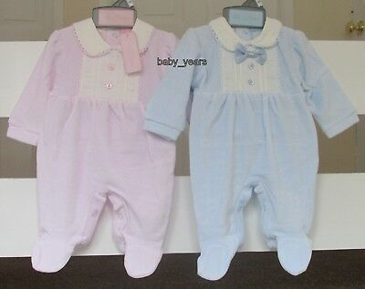 Baby Soft Velour Sleepsuit Babygrow Boys Girls Pink Blue Clothes Nb 0-3 3-6 Mth