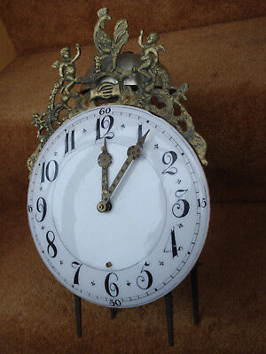 18Th C  French Faience Ceramic Dial Iron Framed 2 Handed Lantern Clock