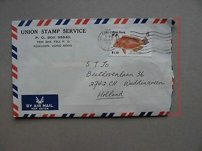 HONG KONG, cover to the Netherlands 1992, single franking $1.30 fish