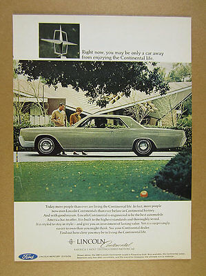 1967 Lincoln Continental Coupe florentine gold color car photo vintage print Ad