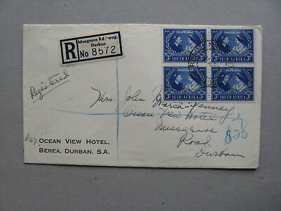 SOUTH AFRICA, R-cover FDC 1948, block of 4  Royal Silver Wedding
