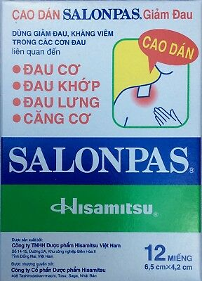SALONPAS 1 PACKET OF 12 PAIN RELIEF PATCHES - Muscles Joint Arthritis Backaches