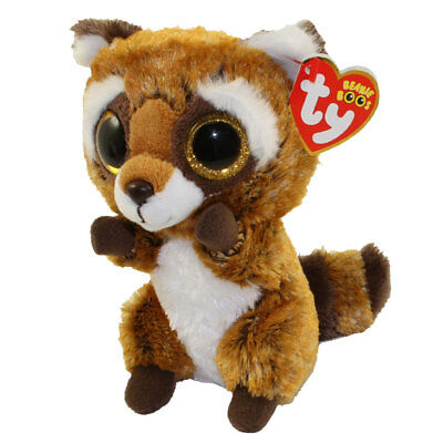 "Ty 9"" Medium RUSTY Raccoon Beanie Buddy Boos Plush Stuffed Animal MWMT's  2018"