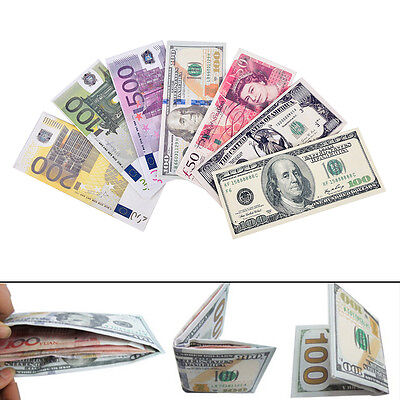 Chic Unisex Mens Womens Currency Notes Pattern Pound Dollar Euro Purse Wallet MA