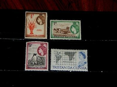 Tristan Da Cunha stamps - 4 mint hinged early stamps - great group !!