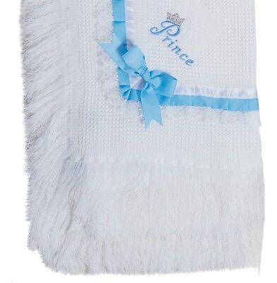 BABY SHAWL personalised / prince princess  BOYS GIRLS WRAP BLANKET 120 x 120cms