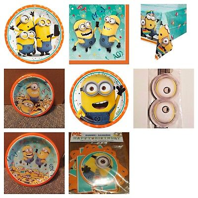 225 & MINIONS BIRTHDAY PARTY Plates Cups Napkins Minion Table ...