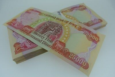 IRAQI DINAR (IQD) - OFFICIAL IRAQ CURRENCY - 100,000 DINARS (four 25,000)