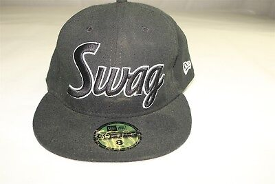 NEW ERA - SWAG - BLACK ON BLACK- 59FIFTY FITTED HAT CAP Size 8 ... e8f68985bd74