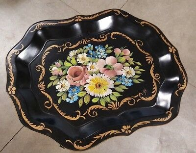 Vintage E.T.Nash Co Tray Hand Painted Floral, Folding Metal Table buy $200 ship