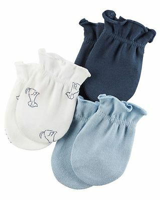 New Carter's 3 Pack Baby Mittens size 0-3 months NWT 100% Cotton Blue Navy