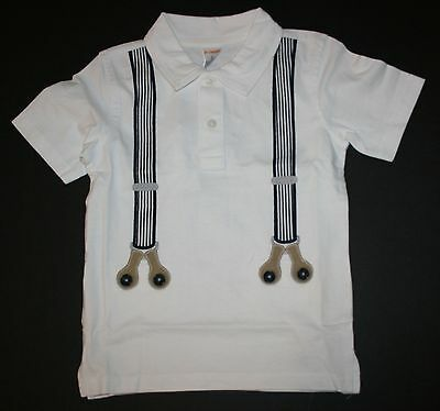 New Gymboree Outlet White Suspender Polo Top Tee NWT 2T 3T 4T 5T Easter Shirt