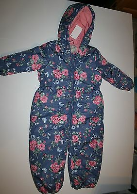 New NEXT UK Winter Snowsuit Pink Rose Flower Print 4 5 Year 110 CM Steal Blue