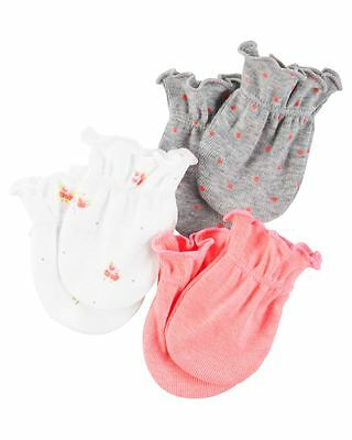 New Carter's 3 Pack Baby Mittens size 0-3 months NWT 100% Cotton Girls Neon Pink
