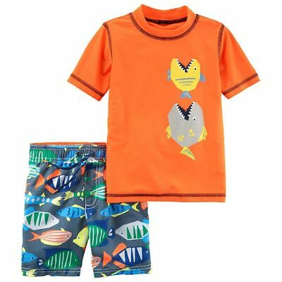 New Carter's 2 Piece Swimsuit Set Top & Bottom 4 / 5 Boys NWT Fish Attack