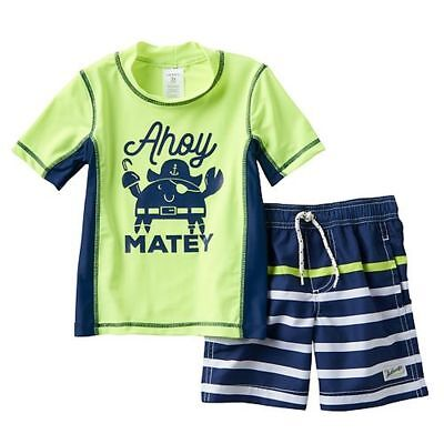 New Carter's 2 Piece Swimsuit Set Top & Bottom 4T Boys NWT Ahoy Matey Pirate