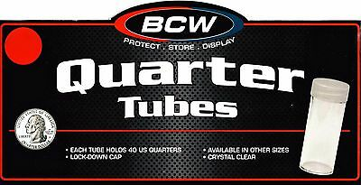 30 Round Quarter Coin Tubes Screw Cap Tube - CRYSTAL CLEAR QUALITY - Franklin