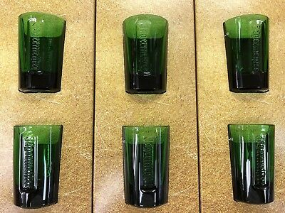 JAGERMEISTER 6 JAGER GREEN GLASS SHOT GLASSES W/ EMBOSSED LOGO - Brand NEW!