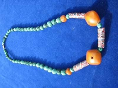 African Trade Beads Necklace. Vintage Venetian Millefiori  Beads, Copal Amber