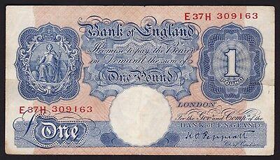 UK One Pound Banknote 1940-41 ND Emergency Issue Signature K. O. Peppiatt P-367a