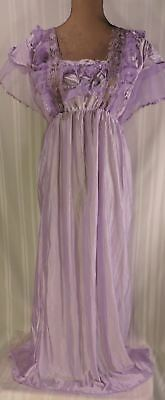 Vintage Purple Peignoir UNWORN Ruffles Lace Bows Frilly Sissy Robe Gown AMAZING