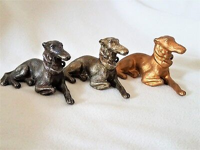 Unique Trio of Vintage Greyhound Dog Cast Metal Figurines-Embossed Japan