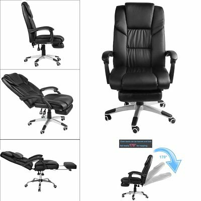 Swivel Reclining Massage Chair Executive Computer Office Rest & Footrest Black