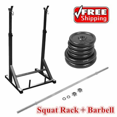 Dumbbell Set Barbell Bar Olympic Squat Power Rack Stands Weight Training Fitness
