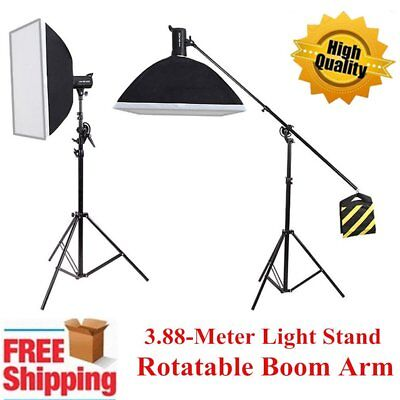 3.88m Heavy Duty Photo Studio 2in1 Combine Rotatable Boom Arm Light Stand Kit UK