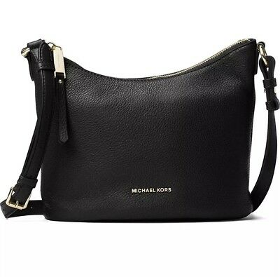 3c7806afbfab Michael Kors Lupita Medium Pebbled Leather Messenger Bag Handbag NWT Black  $288