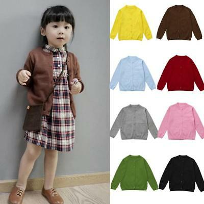 Winter Fall Kids Retro Newborn Baby Girls Boys Solid Knitted Sweater Cardigan HN