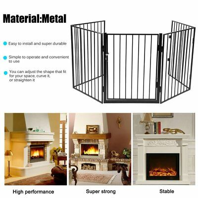 Baby Safety Fence Hearth Gate Metal Fire Gate Pet Dog Cat Fireplace Screen UK