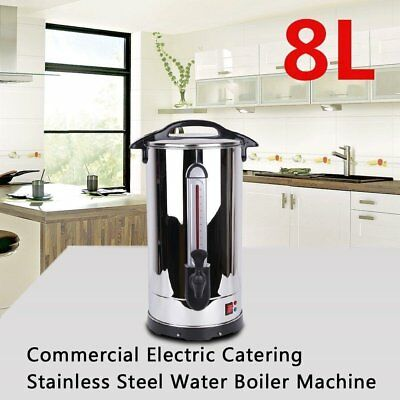 8L Stainless Steel Tea Urn Electric Catering Hot Water Boiler Coffee Office Best