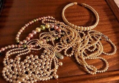 Approx 90 grams of Faux Pearl Gemstone Beads & Necklaces for Repair, Harvesting