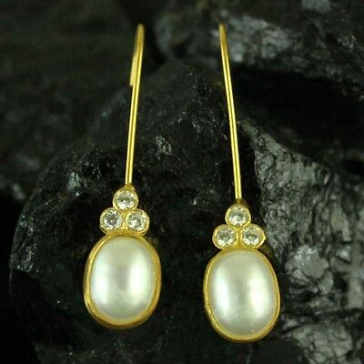 Handmade Designer Ancient Pearl Earring With Topaz Gold over 925 Sterling Silver