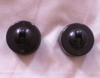 Two vintage Crabtree bakelite dolly toggle switches VGC