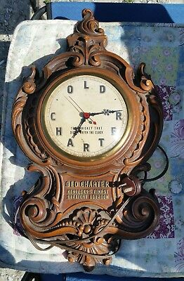 Vintage Old Charter Whiskey / Bourbon Advertising Clock / Sign Syroco Wood