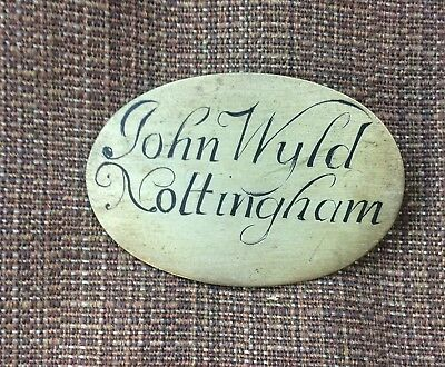 A Solid Brass Plaque With Clockmakers Name For Longcase Clock Dial