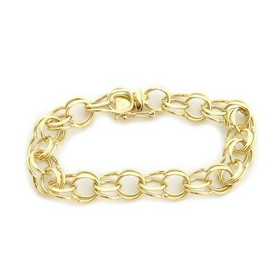 """Solid 14k Yellow Gold 10mm Solid Round Double Link Chain Bracelet, 8"""""""
