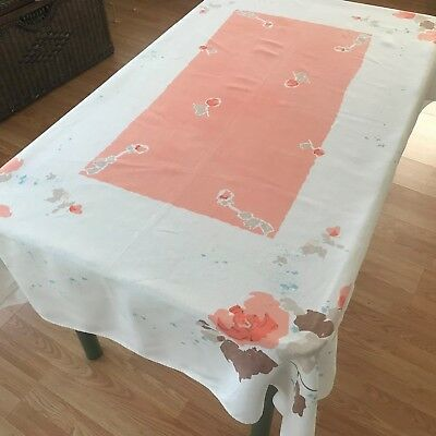 Vintage Linen Tablecloth, Retro Coral Colored Flowered Tablecloth