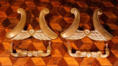 4x Vintage French Empire Brass Bronze Furniture Handles Pediments Embellishments